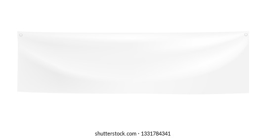 3d vector realistic Empty Horizontal Banner with folds. Ready Template for Your Design and Advertising. Awning, Textiles, PVC, Vinyl, Nylon, Banner ect. EPS 10.