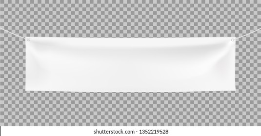 3d vector realistic Empty Horizontal Banner with Corners Ropes on transparent background. Ready Template for Your Design and Advertising. Awning, Textiles, PVC, Vinyl, Nylon, Banner ect. EPS 10.