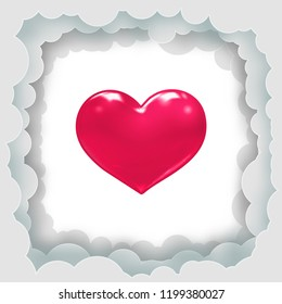 3D vector red shiny heart symbol and paper cut cloud frame template on glowing white blank space background