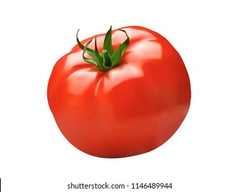 3D Vector red tomato. Highly realistic vector, natural texture  isolated on white background.