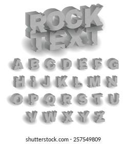 3D vector rock text alphabet with grunge and broken texture