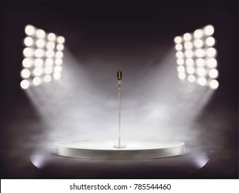 3D vector round white podium with metallic microphone illuminated by white beams of spotlights, isolated on dark background. Empty realistic stage with a special effect of smoke and theatrical fog