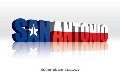 3D Vector San Antonio (Texas) Word Text Flag