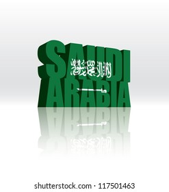 3D Vector Saudi Arabia Word Text Flag