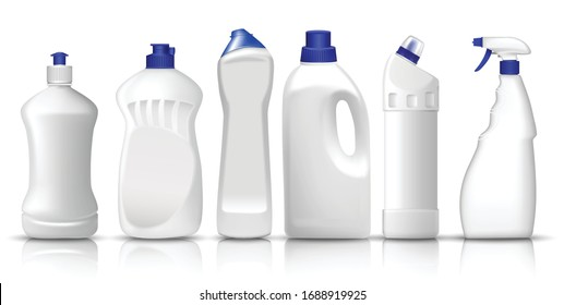 3d vector set of realistic white plastic bottles of liquid laundry detergent, fabric softener, dish washing liquid, glass spray. Space to place your text or brand logo.