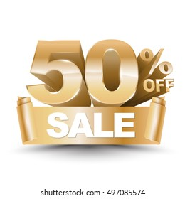 3d vector shiny gold discount 50 percent off and sale on gold ribbon. Vector illustration for promotion discount sale advertising.