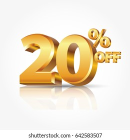 3d vector shiny gold text 20 percent off isolated on white background with reflection