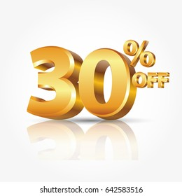 3d vector shiny gold text 30 percent off isolated on white background with reflection