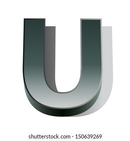 3d vector of the silver letter U on a white isolated background.