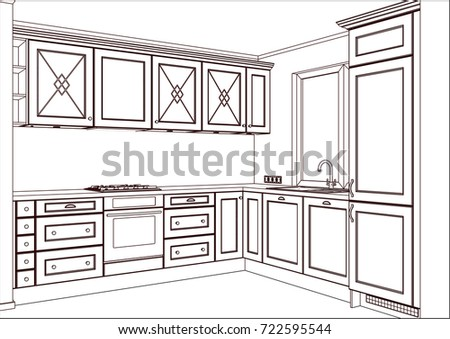 3 D Vector Sketch Classic Kitchen Design Stock Vector Royalty Free