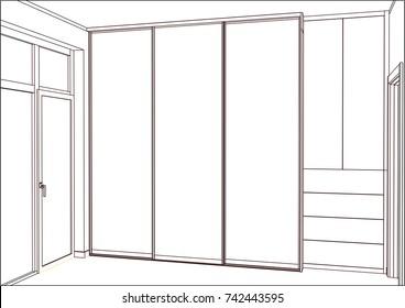 3D vector sketch. Empty wardrobe with sliding doors in the interior. Wardrobe sketch.