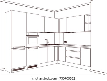 Interior Design Modern Kitchen Drawing Plan Stock Illustration