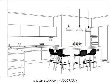 3D vector sketch. Modern kitchen design in home interior. Kitchen sketch with decorations and appliances. There is also a kitchen island in the room. Pendant lights. Lines, projection, construction.