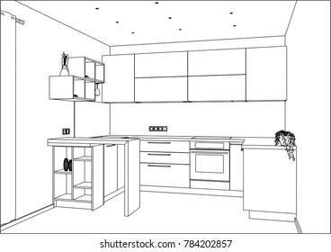 Commercial Kitchen Interior Stock Vectors, Images & Vector