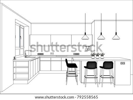 3 D Vector Sketch Modern Kitchen Design Stock Vector Royalty Free