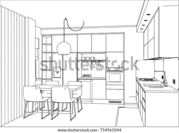 3d Vector Sketch Modern Kitchen Design Stock Image ...
