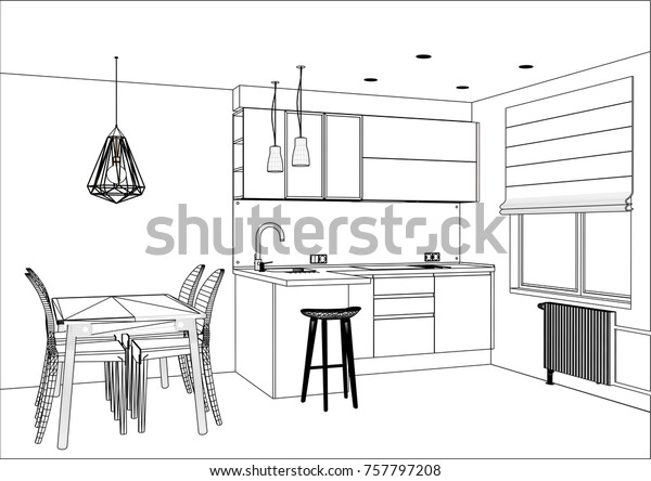 3d Vector Sketch Modern Kitchen Design Stock Vector Royalty Free 757797208