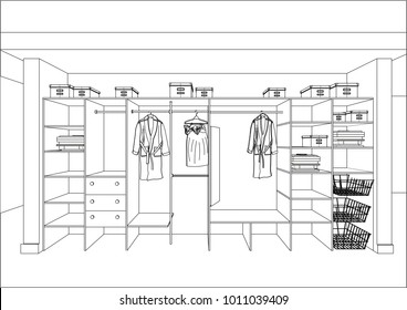 3D vector sketch. Wardrobe in the interior. Big modern wardrobe with folded and hanging clothes. Isolated.
