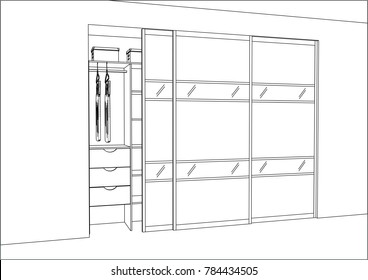 3D vector sketch. Wardrobe with sliding doors in the interior. Big modern wardrobe with folded and hanging clothes. Lines, projection, construction, appliances, decorations, art, style, realestate.