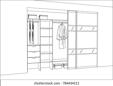 3D vector sketch. Wardrobe with sliding doors in the interior. Big modern wardrobe with folded and hanging clothes. Project management. Lines, projection, construction, appliances, decorations.