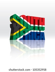 3D Vector South Africa Word Text Flag