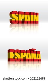 3D Vector Spain (Espana) Word Text Flag