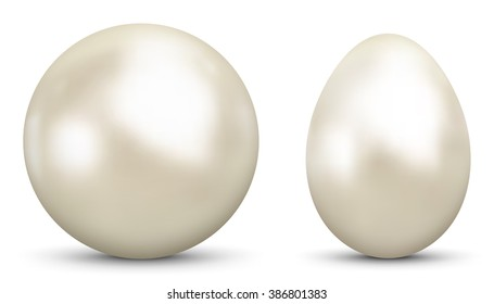 3D Vector Sphere and Egg - Side by Side - Geometrical Objects Textured with Pearl , Nacre Material. Spherical and Egg Shaped Item. Orb and Oval - Isolated on White Background - Each Form in Own Layer.
