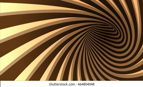 3d vector striped spiral abstract tunnel background. Background for products with chocolate or coffee cream taste. Twisted rays. Striped tunnel. Spiral hole.