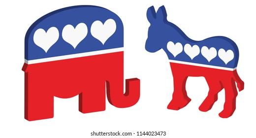 3D vector symbols for the Republican and democratic political parties