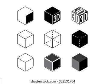 3D vector symobl, set of icons
