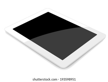 3D Vector tablet computer on white background. gradient mash