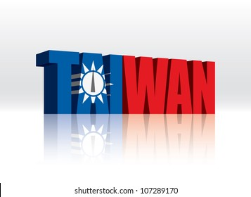 3D Vector Taiwan Word Text Flag