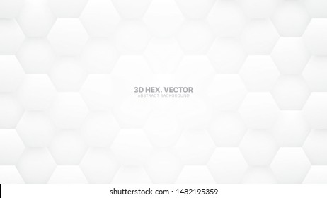 3D Vector Tech Hexagons Pattern White Abstract Background. White Wallpaper. Abstract Vector White Texture. Subtle Clear Light Backdrop. Technology Background