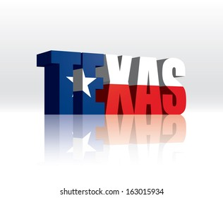 3D Vector Texas (USA) Word Text Flag