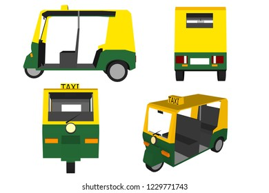 3D vector tuk-tuk. indian auto rickshaw concept. delhi auto. minimal design. vector illustration.