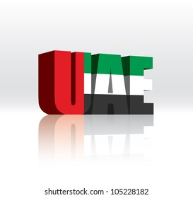 3D Vector United Arab Emirates (UAE) Word Text Flag