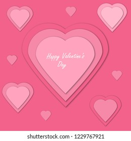 3d vector Valentine card. Hearts collage for wedding, anniversary, birthday, Valentine's day, party design. Festive background for Mother or Woman's Day.