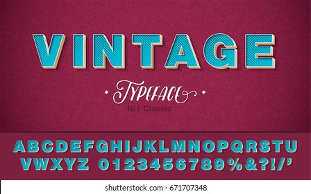 3d vector vintage font and alphabet, retro pop art style 80s, 90s.