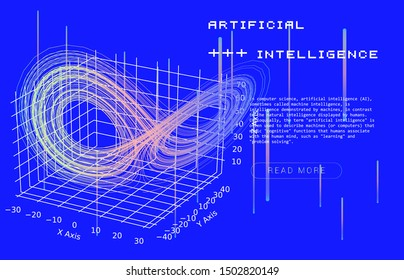 3D Vector Visualisation of The Lorenz attractor, system that causing the butterfly effect. Scientific conteptual background for AI (artificial intelligence), Chaos Theory,  Quantum Computing.