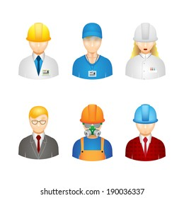 3d vector workers icons: builder, manager, engineer and technologist