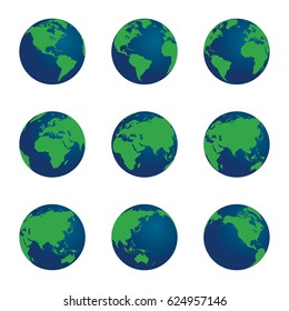 3D vector world globe set. Green land mass and blue water.