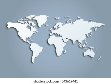 3d vector world illustration with smooth vector shadows and white map of the continents of the