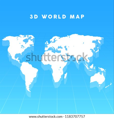 3 d vector world map on grid stock vector royalty free 1183707757