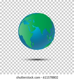 3d view of green earth. World globe vector transparency background