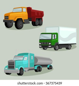 3D view Industrial freight vehicles vector image design set for your illustration, decoration, labels, stickers and other creative needs.