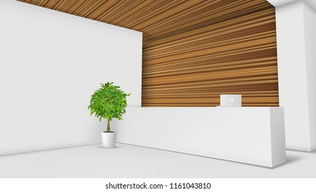 3D View Of A Office Reception Desk. Ready For Branding. EPS10 Vector
