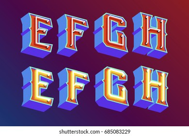3D vintage letters with fluorescent neon lights and ON/OFF switch mode. Vector retro illustration