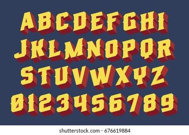 3D vintage letters. Vector retro illustration