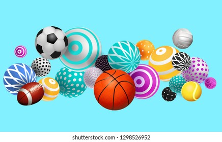3D volumetric balls, balls of different sports, on a bright background with multi-colored object