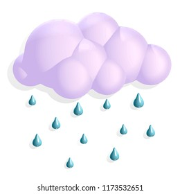 3d volumetric illustration cloud rain